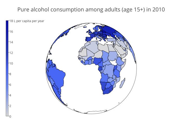 Из блога PlotLy - потребление алкоголя в разных странах